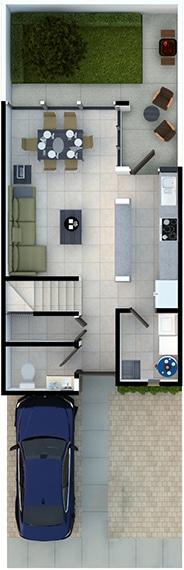 Render de distribución de planta baja de casa modelo Galia en Lenna Residencial, en Zákia, Querétaro.