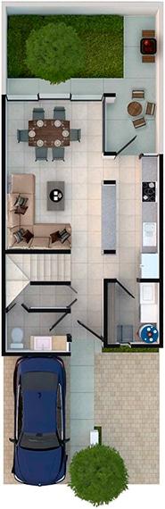 Render de distribución de planta baja de casa modelo Lenor II en Lenna Residencial, en Zákia, Querétaro.