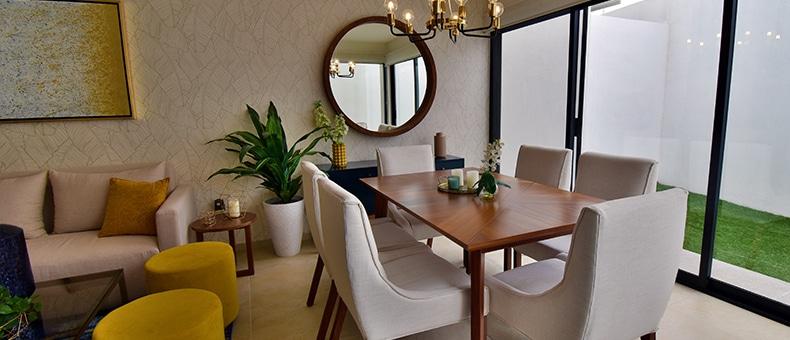 Foto de sala comedor de casa modelo Galia en Lenna Residencial, en Zákia, Querétaro.