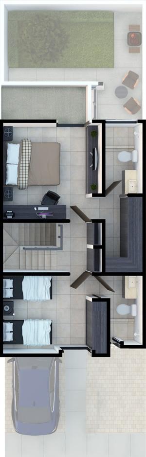 Planta alta de casa modelo Galia en Lenna Residencial.