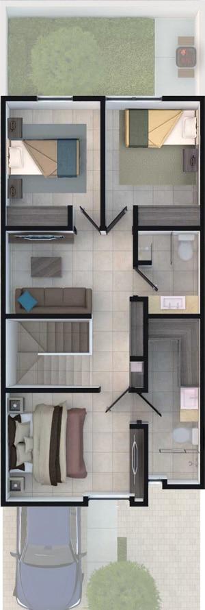 Planta alta de casa modelo Lenor II en Lenna Residencial.